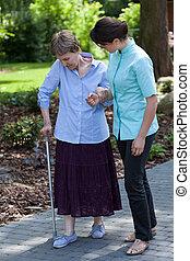 女性, 看護婦, 古い, 行く, 歩きなさい