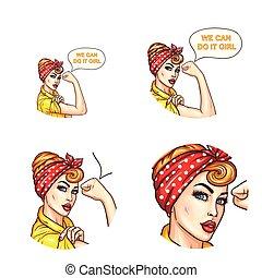 女性, 私達, 芸術, 回転した, それ, ポップアップ, 確信した, avatar, ベクトル, 袖, 缶, チャット...