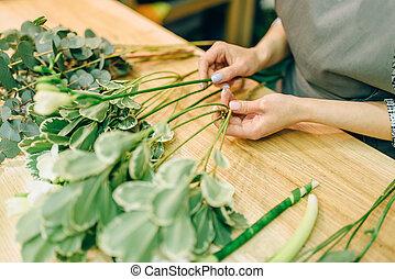 女性, 種花人, 由于, 植物, 束, 在, 手