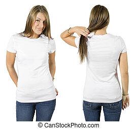 女性, 穿, 空白, 白的襯衫