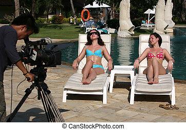 女性, 美しい, video-operator