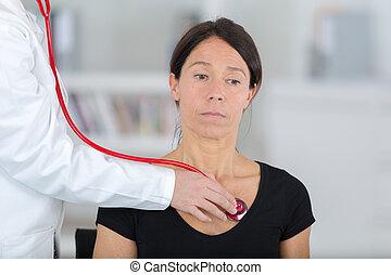 女性, 聴診器, 患者, 検査, 医者