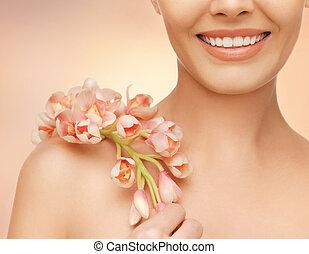 女性, 肩, そして, 手, 保有物, 蘭, 花