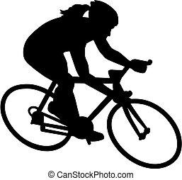 女性, 自行车, 自行车, 骑车者