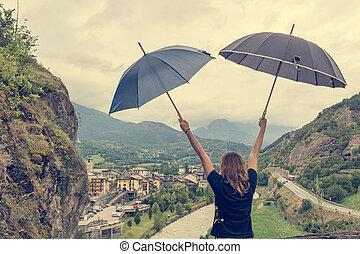 女性, 若い, ダンス, 使うこと, 対, umbrellas., 雨