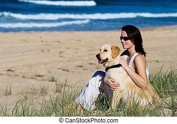 女性, 若い, 浜, モデル, 犬