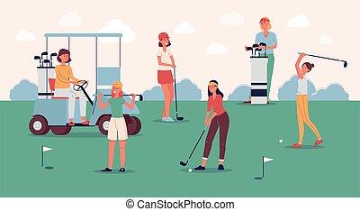 女性, 装置, プレーヤー, コース, ゴルフをすること, 緑, 地位, チーム, ゴルフ