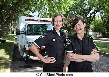 女性, 護理人員, 由于, 救護車
