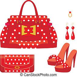 女性, 財布, 袋, 靴