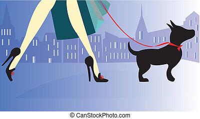 女性, 買い物, 犬