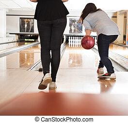女性, 遊び, アリー, ボウリング