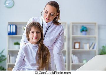 女性 醫生, 儿科醫生, 檢查, 女孩