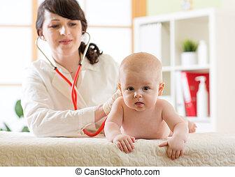 女性 醫生, 儿科醫生, 檢查, 嬰孩, 病人