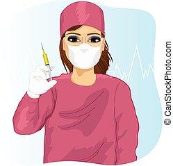 女性 醫生, 在, 面罩, 容納一個注射器