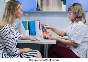 女性 醫生, 婦科醫生, 由于, 病人, 在, 她, 辦公室