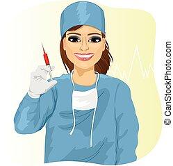 女性 醫生, 容納一個注射器
