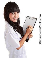 女性 醫生, 寫, 上, a, 剪貼板