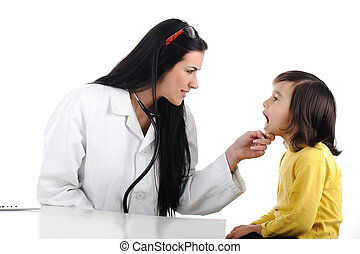 女性 醫生, 檢查, 孩子, 由于, 舌頭抑制器