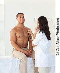 女性 醫生, 檢查, the, 脈衝, ......的, a, 病人