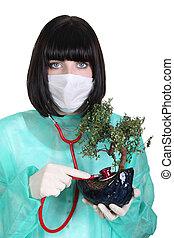 女性 醫生, 由于, 植物