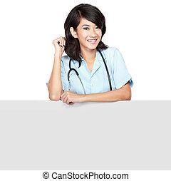 女性 醫生, 由于, a, blankboard