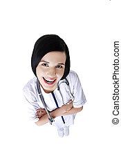 女性 醫生, 穿, 聽診器