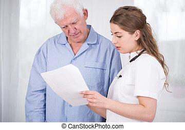 女性 醫生, 討論, 由于, 病人