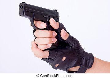 女性, 銃, 手を持つ