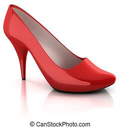 女性, 隔離された, 赤, 靴