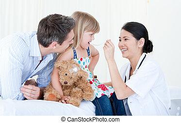 女性, 集中される, アジア人, 医者