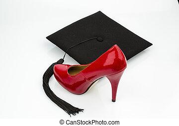 女性, 靴, 上に, mortarboard