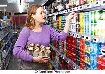 女性, 顧客, 選択, ビール
