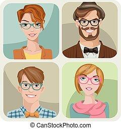 女性, 4, セット, マレ, characters., 若い