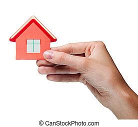 女性, house., 隔離された, 手の 保有物, 印