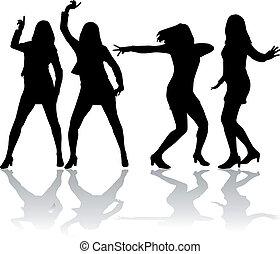 女性, silhouettes.