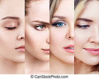 女性, skin., 美しい, 完全, コラージュ