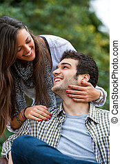 女朋友, 以及, 男朋友, 微笑, outdoors.
