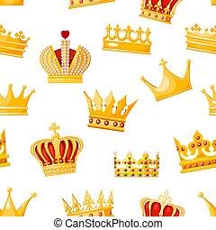女王, 君主, 王, power., regalia, 白, 王冠, seamless, イラスト, 隔離された, ...