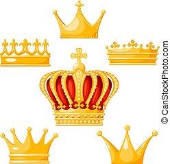 女王, 金, セット, 王, power., 戴冠式, 君主, 王冠, 隔離された, イラスト, バックグラウンド。, ...