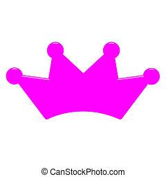 女王, 3d, 王冠, ピンク