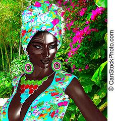 女王, beauty., 黒, ファッション, アフリカ