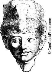 女王, bulaq, engraving., taia, 型, 博物館, エジプト