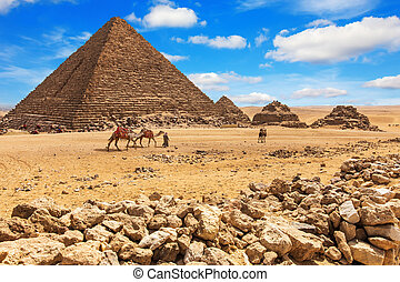 女王, menkaure, ピラミッド, ギザ, エジプト, 彼の, ピラミッド
