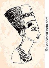 女王, nefertiti., エジプト人