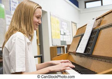 女生徒, ピアノ, 音楽, 遊び, クラス