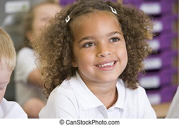 女生徒, モデル, クラス, 予備選挙