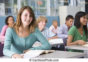 女生徒, 中に, 高校, クラス