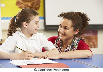 女生徒, 勉強, 中に, 教室, ∥で∥, 教師