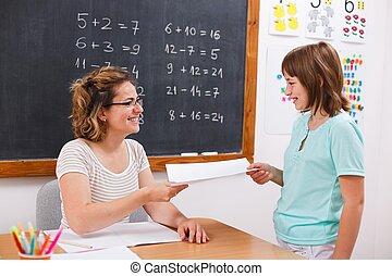女生徒, 寄付, ∥あるいは∥, 受け取ること, 数学, テスト, ペーパー