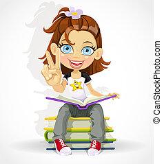 女生徒, 平和, 作り, 印
